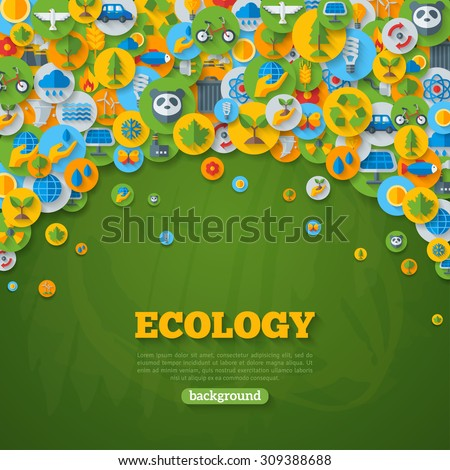 Ecology Background with Flat Icons on Circles. Environmental Protection, Ecology Concept Poster. Vector illustration. Green Energy, Wild Nature, Solar panels, Recycle, Growing Sprout Icons. - stock vector