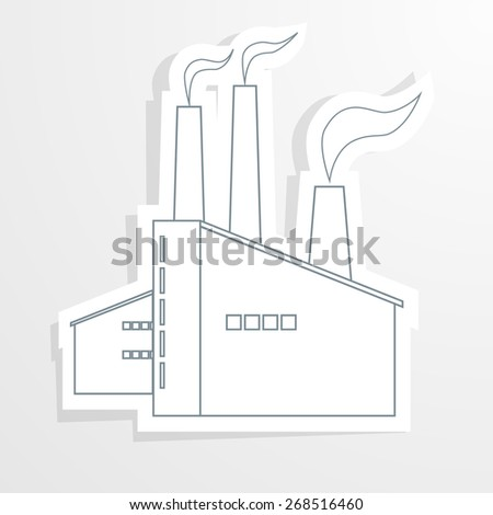 Ecology background with paper industrial objects, smoke and fire.  - stock vector