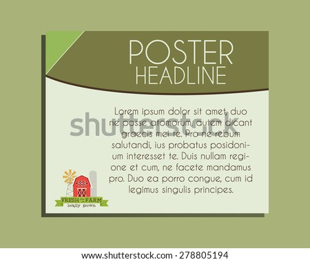 Ecology banner. Organic farm and natural products  poster design. Lovely colors. Vector illustration - stock vector