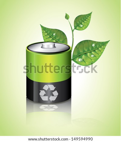 Ecology Battery - stock vector