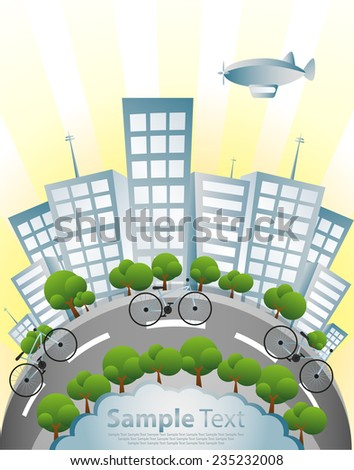 Ecology, Bicycle and Green City - stock vector