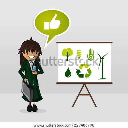 Ecology businesswoman with whiteboard presentation and environment icons. EPS10 vector file organized in layers for easy editing. - stock vector