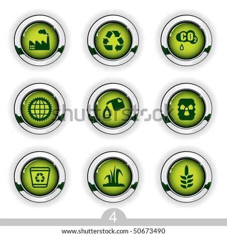 Ecology button series 4 - stock vector