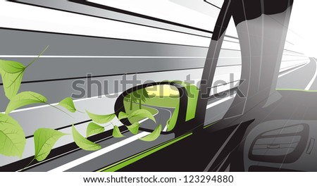 Ecology car with a lot of nature growing from itself - stock vector