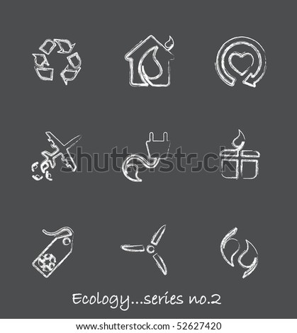 Ecology chalkboard icons...series no.2 - stock vector
