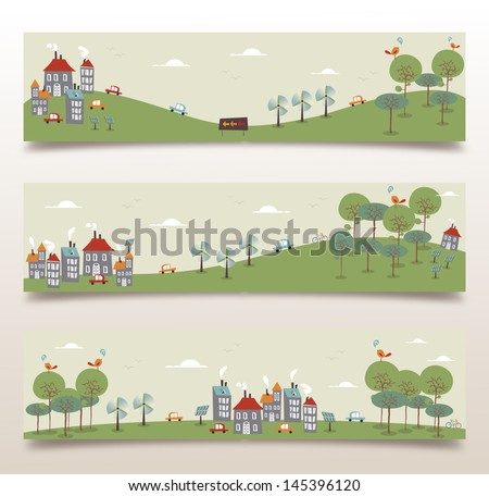 Ecology city and forest idea banner set. Vector illustration layered for easy manipulation and custom coloring. - stock vector