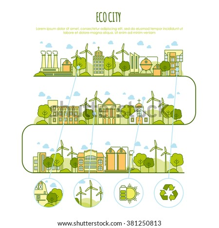 Ecology city infographic vector  template with thin line icons of eco farm technology, sustainability of local environment, town ecology saving. Thin line design graphic image concept