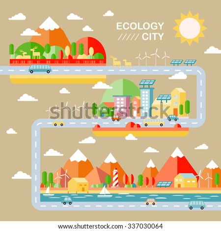ecology city scenery concept in flat design - stock vector