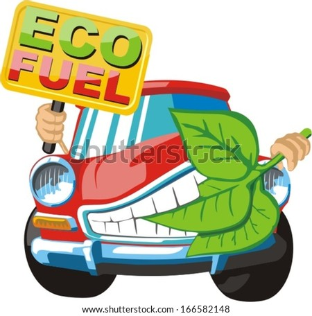 ecology clear fuel for car - stock vector