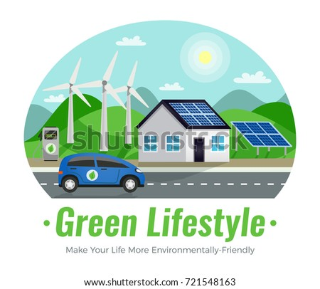 Ecology colored composition with green lifestyle make your environmentally friendly headline and description vector illustration