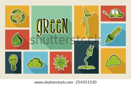 Ecology colorful hand drawn illustration style flat icon set. Environment concept ideal for app and website layout. EPS10 vector file.