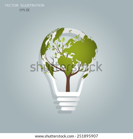 Ecology concept, a tree, a map of the world, rising from the bulb, vector illustration modern template design