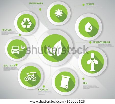 Ecology concept,Abstract,Green version,vector - stock vector