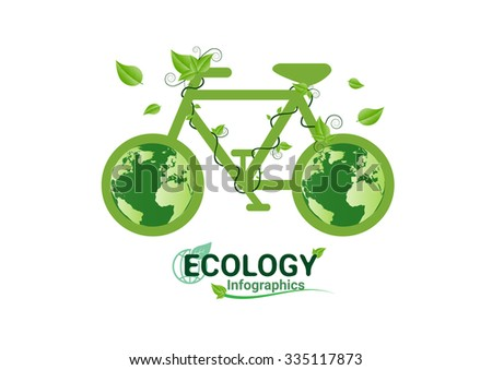 Ecology concept bicycle green. save world vector 