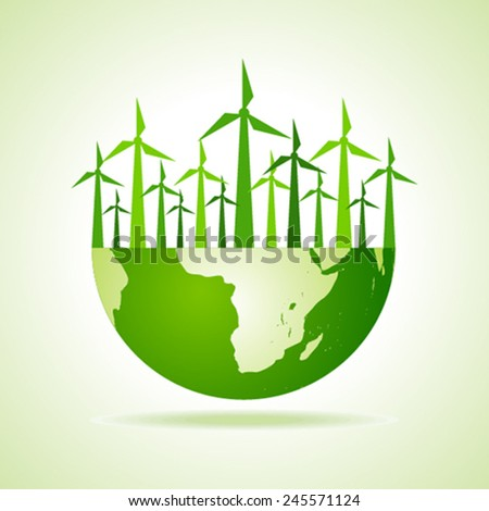Ecology concept - earth with wind mill stock vector - stock vector