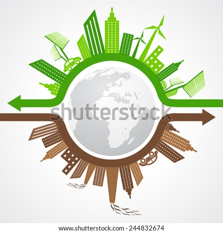Ecology Concept - eco and polluted cityscape stock vector - stock vector