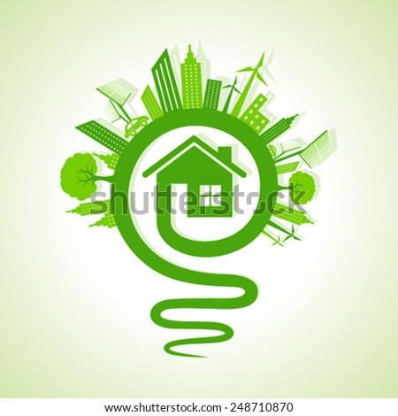 Ecology concept - eco cityscape with light-bulb and home icon stock vector - stock vector
