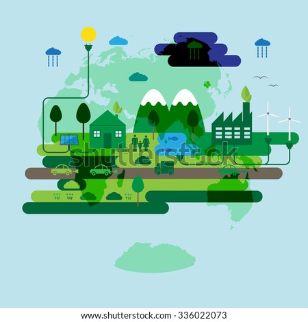 Ecology concept, green energy and green city