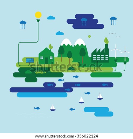 Ecology concept, green energy and green landscape