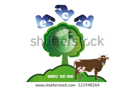 Ecology concept.Healthy food and drink - stock vector