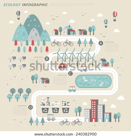 ecology concept infographic template in flat design - stock vector