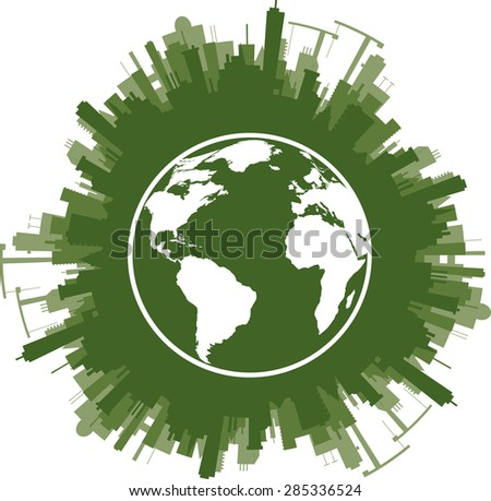 Ecology concept of green planet. Vector illustration