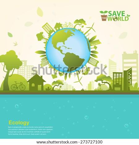 Ecology concept save world vector - stock vector