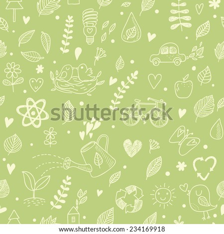 Ecology concept seamless pattern. A lot of Ecology elements in one background: sun, bicycle, atom, bird, flower, car, apple, butterfly and others. Can be used for wallpapers, pattern fills - stock vector