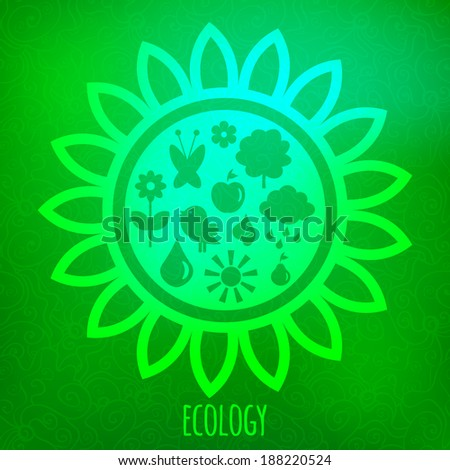 Ecology concept. Various eco symbols on blurry green background - stock vector
