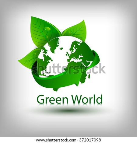 Ecology concept vector design, green world natural