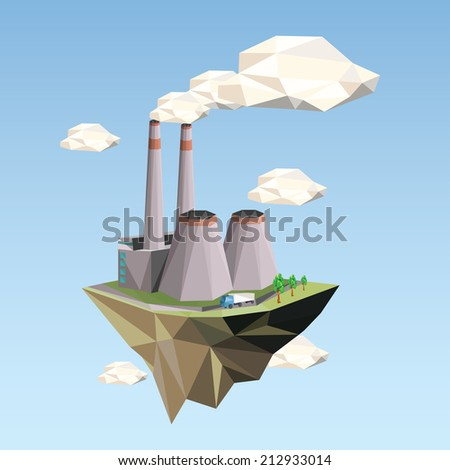 Ecology Concept Vector Illustration in polygon style. Power Plant. - stock vector