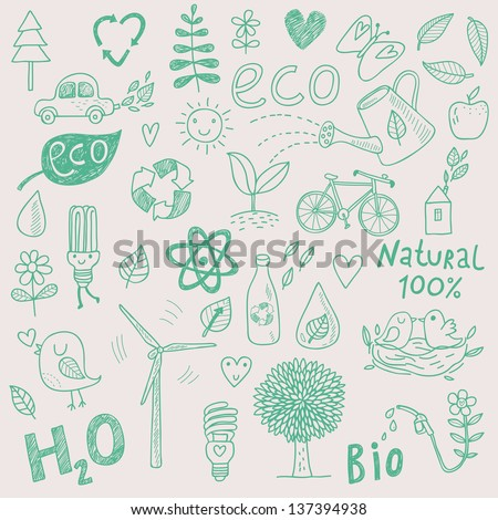 Ecology concept vector set in vector. Eco elements � wind power plant, tree, car, bicycle, lightbulb, atom, watering can, leafs, birds, bottle and other - stock vector