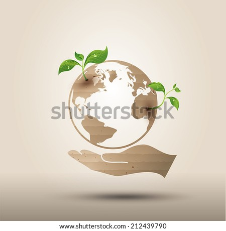 Ecology concept  . Vector symbol paper cut style - stock vector