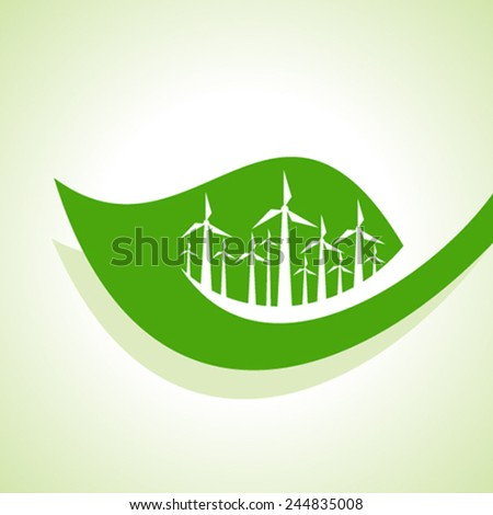 Ecology Concept - wind mill with leaf stock vector - stock vector