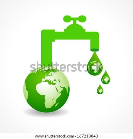 Ecology concept with earth and tape stock vector - stock vector