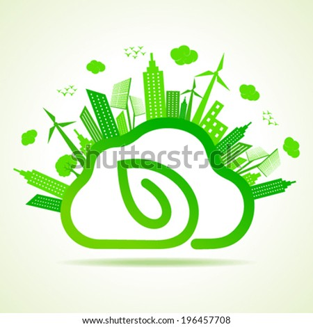 Ecology concept with eco clouds-cape and leaf vector illustration  - stock vector