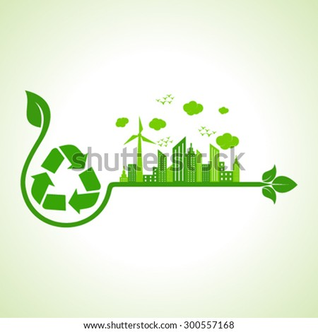 Ecology concept with recycle icon  - vector illustration  - stock vector