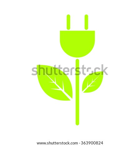 ecology concept with tree and electric plug on white background, green energy, vector illustration - stock vector