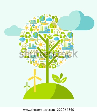 Ecology concept with tree and nature elements in flat style
