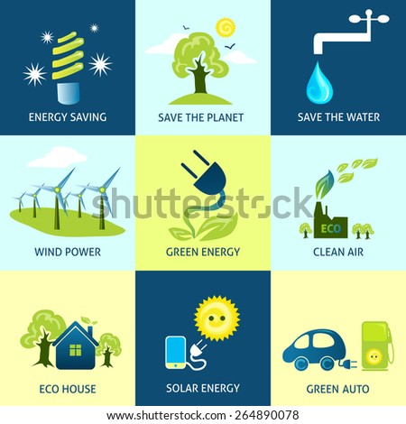 Ecology concepts set with energy planet water saving icons isolated vector illustration - stock vector
