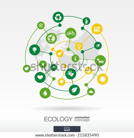 Ecology connection concept. Abstract background with integrated circles and icons for eco friendly, energy, environment, green, recycle, bio and global concepts. Vector infographic illustration