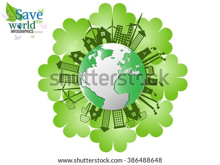 Ecology connection concept background .Vector infographic illustration