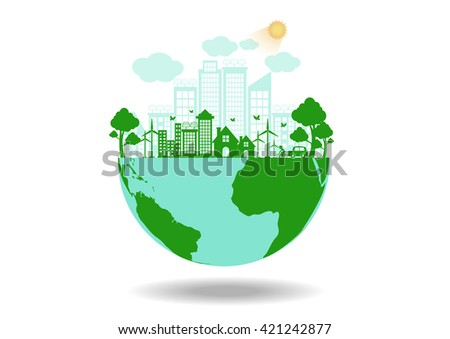 Ecology connection  concept background . Vector infographic 