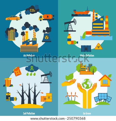Ecology design concept set with air water and soil pollution flat icons isolated vector illustration - stock vector
