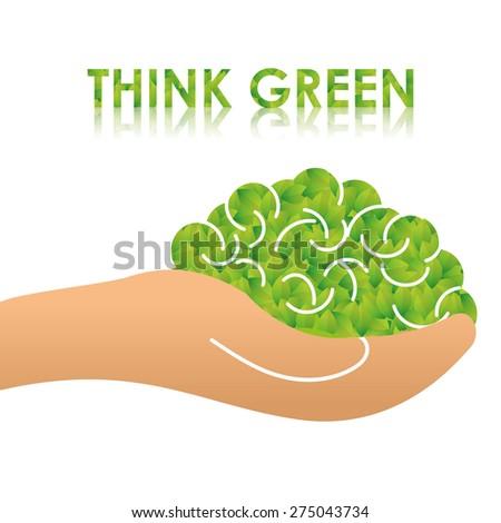 Ecology design over white background, vector illustration. - stock vector