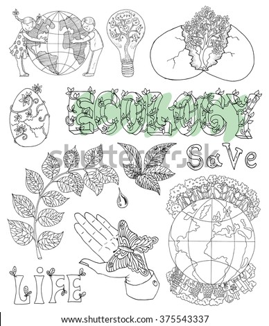 Ecology doodle set with leaves, text, hand with butterfly, tree in egg and eco symbols. Hand drawn line art bio symbols and illustrations, green world concept, environment protection theme