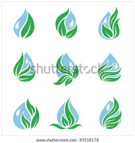 Ecology,drops and leaves - stock vector
