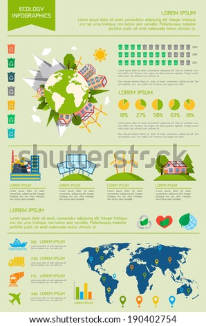 Ecology eco friendly energy world infographic set with graphs and charts vector illustration