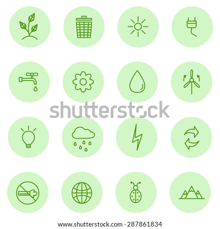 Ecology, eco, Nature,Energy Green line icons,vector.