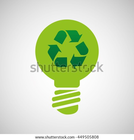 ecology eco nature protection bulb arrow isolated, vector illustration